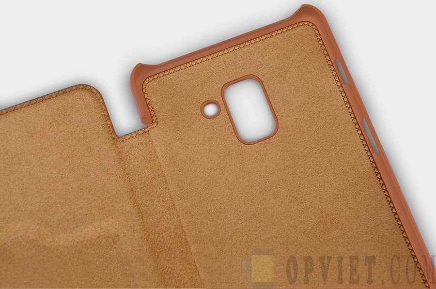 bao da samsung galaxy a8 plus 2018 nillkin qin leather