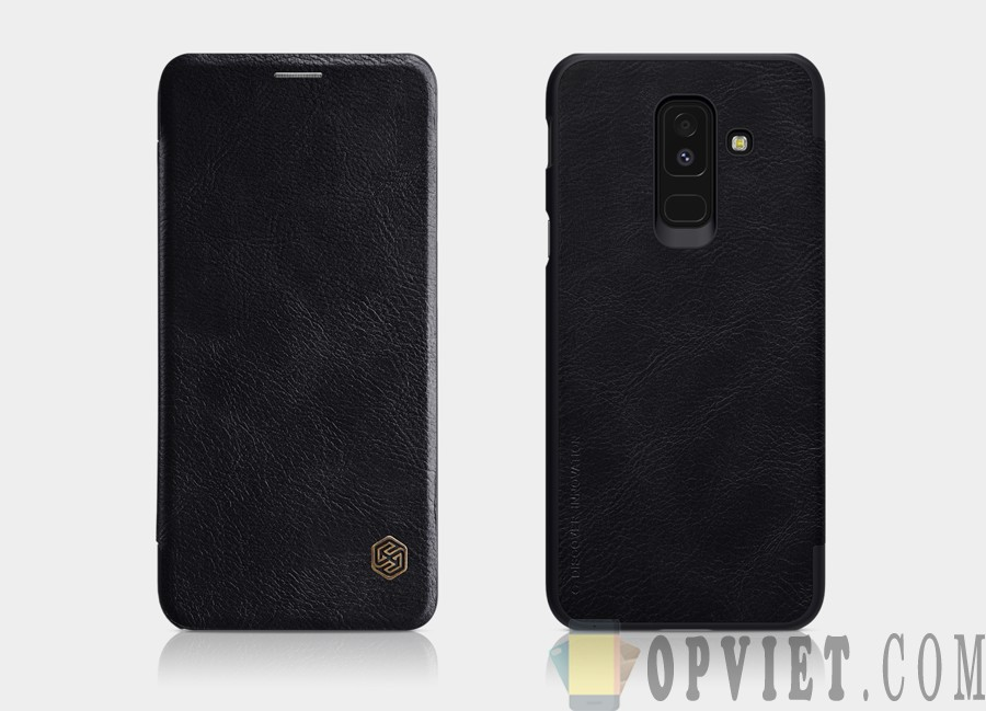 bao da samsung galaxy a6 plus 2018 nillkin qin leather